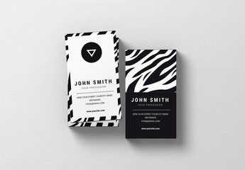 Three Business Card Layouts with Zebra Pattern 1