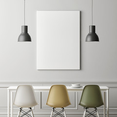 Three chair in dinning with mock up poster, 3d illustration