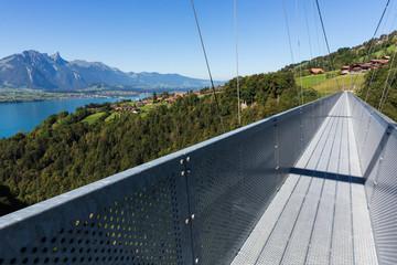 Suspension Bridge over Gummi Gorge in Sigriswil Switzerland