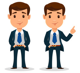 Business man cartoon character in smart clothes, office style. Young handsome businessman in suit standing straight and showing something.