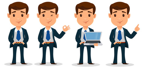 Set of business man cartoon character in smart clothes, office style. Young handsome businessman in suit.