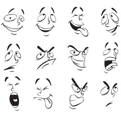 Face Expressions. Cartoon Doodle Back and White Outline