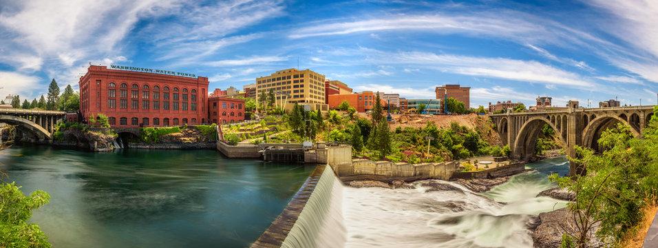 Washington Water Power building and the Monroe Street Bridge along the Spokane river