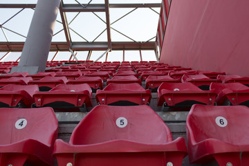 A row of red plastic chairs on a stadium