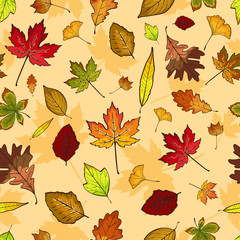 Autumn Leaves Seamless Pattern Wallpaper