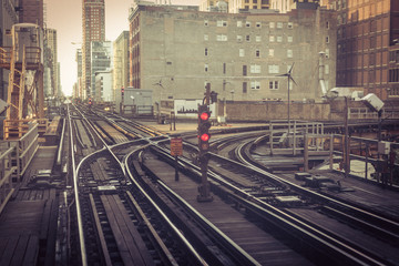 70s style view of subway tracks