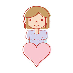 girl with hairstyle deasign and heart icon vector illustration