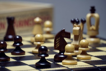 Chess boards and chess pieces game.