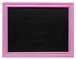 Pink picture frame with blank blackboard, isolated on white background.