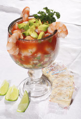 Shrimp Cocktail with avocado and lemon