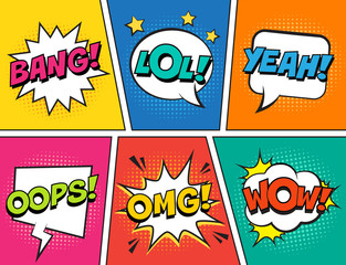 Spoed Fotobehang Pop Art Retro comic speech bubbles set on colorful background. Expression text LOL, OMG, WOW, YEAH, OOPS, BANG. Vector illustration, vintage design, pop art style.