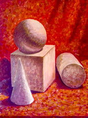 A picture with painted geometric figures. cube, ball and cone.