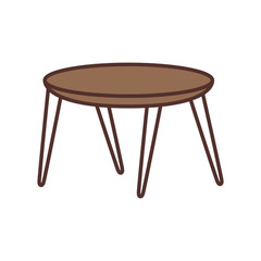 wooden round table furniture decoration vector illustration