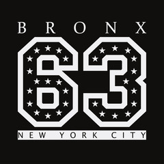Bronx, New York. Design clothes, t-shirts. Sports graphics with number for print. Vector illustration.