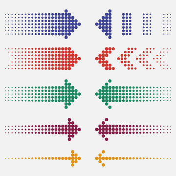 Dotted arrows. Dots pointers, colorful, halftone effect. Vector illustration.