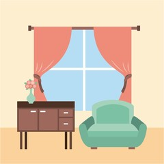 living room interior a sofa furniture cabinet drapes window and flower vase vector illustration