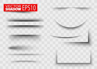 Paper sheet shadow effect. Transparent realistic paper shadow effect set.
