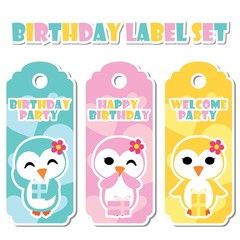 Cute colorful penguin girls on love background vector cartoon illustration for Birthday label set design, banner set and postcard design