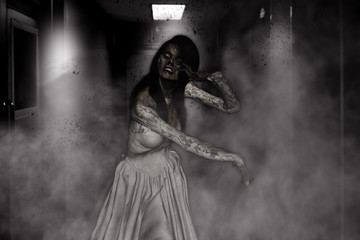 3d illustration of bride of zombie,Horror background mixed media