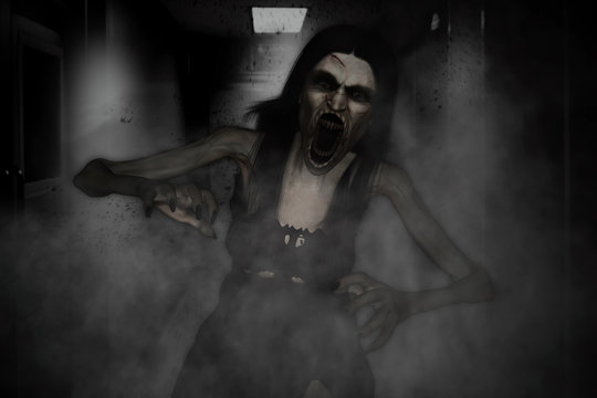 3d illustration of scary angry ghost woman screaming in haunted house,Horror background,mixed media