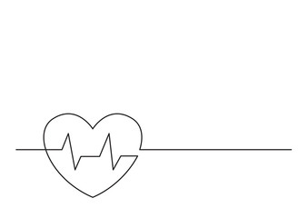 one line logo design of heart health