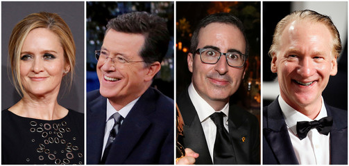 A combination photo shows Samantha Bee, Stephen Colbert, John Oliver and Bill Maher