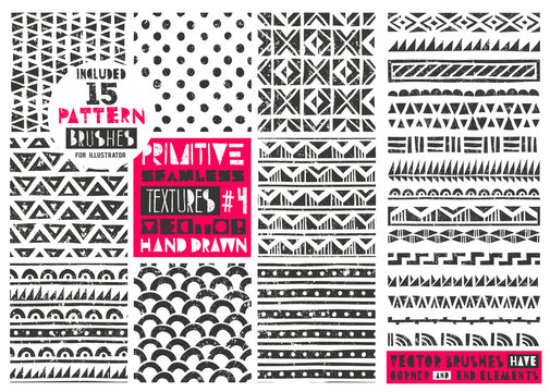 Set of 8 primitive geometric patterns collection. Includes 15 pattern brushes for Illustrator. Modern trendy prints in linocut style. Vector illustration. EPS10.