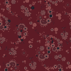 Pretty Boho Floral Paisley Seamless Repeat Wallpaper Tile - Cranberry, Burgundy and Wine Toned Palette with Red Background