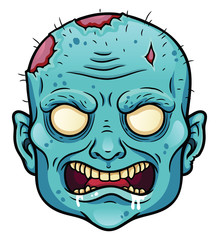 Angry cartoon zombie head