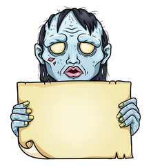 Cartoon zombie woman with sheet of paper in her heands