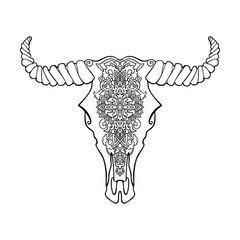 Mandala tattoo style dead cow head. Decorative ornament buffalo skull. Native indian art. Vector black and white illustration. Ethnic sketch design. Tribal boho style pattern.