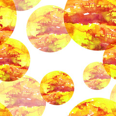 Seamless watercolor pattern, background, with a round abstract spot with a beautiful splash of paint. yellow, orange color, blot, splash of paint, beautiful, fashionable vintage background.