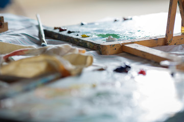 oil paints on wooden palette