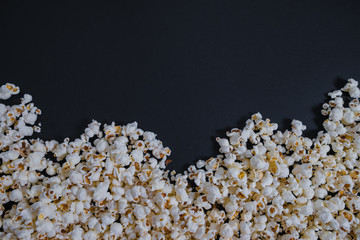 Top view Scattered salted popcorn, texture background. Clipping path included