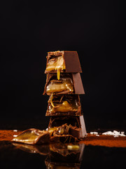 Tower of cut chocolates.