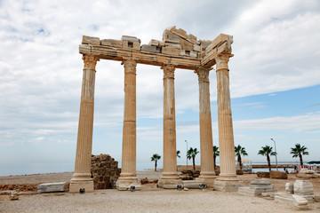 Columns of an ancient Greek temple, ruins