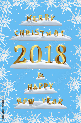 merry christmas and happy new year 2018 with snowflakes template vector christmas and new year