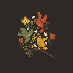 Cute vector art. The birds and flowers.