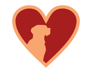 heart love dog silhouette icon image vector