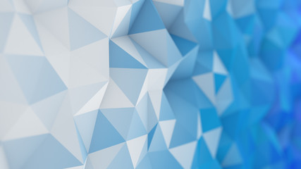 White and blue low poly 3D surface