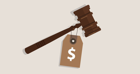 buy justice law price tag dollar sign on hammer bribery corrupted trial judgment concept of auction
