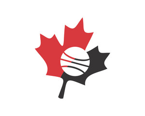 hockey sport canada maple leaf icon image vector