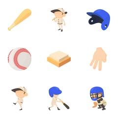 Baseball equipment icons set, cartoon style
