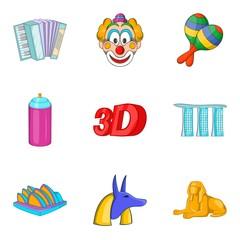 Pleasure icons set, cartoon style
