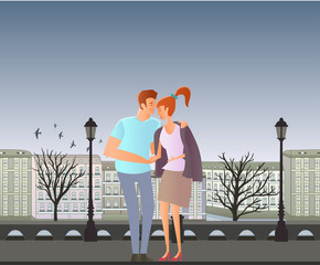 Young couple in love. Man and woman on a romantic date in the street of the old town. A man hugs a woman. Vector illustration.
