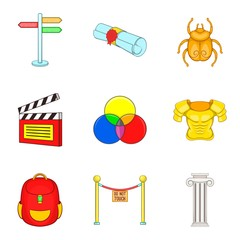 Costume icons set, cartoon style