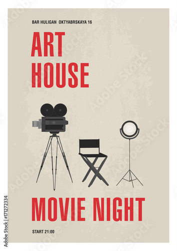 Minimalistic poster template for art house movie night with film ...