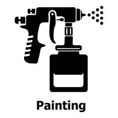 Spray gun icon, simple black style