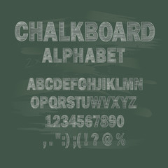 Chalk capital letters of the Latin alphabet on a school chalkboard