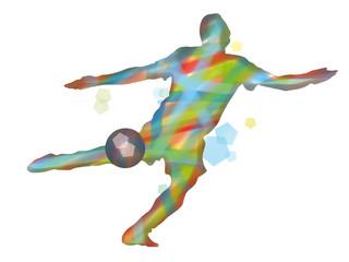 Illustrazione colorata di calciatore che calcia un pallone nello sport del calcio